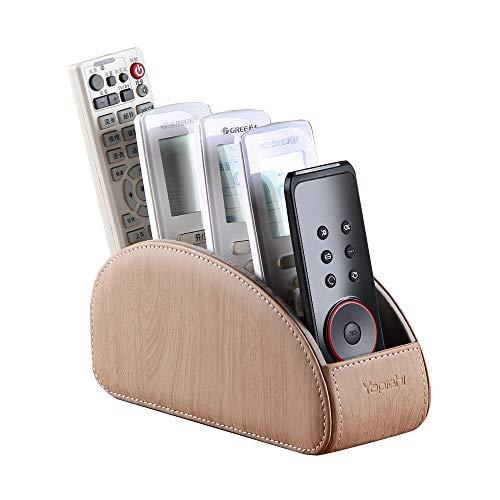 Soporte de piel para mando a distancia de la silla, mando a distancia de TV, mesa con 5 compartimentos, organizador de escritorio, caja de almacenamiento para Blu-ray, reproductor multimedia