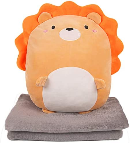 ARELUX 3 in 1 Soft Lion Plush Pillow Blanket Set 15 7 Perfect for Travel Nap Time Car Office product image