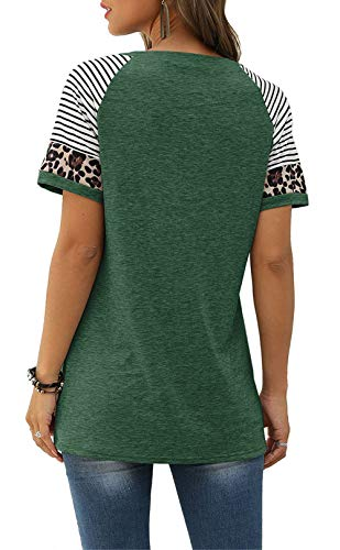 JomeDesign-Casual-Tops-for-Women-Short-Sleeve-Leopard-Print-Patchwork-Striped-T-Shirt-Blouses-S-XXL