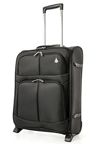 Aerolite Expandable Cabin Luggage Suitcase 55x40x20 to 55x40x23cm 2 Wheel Carry On Hand Luggage, fits Ryanair easyJet British Airways, Black