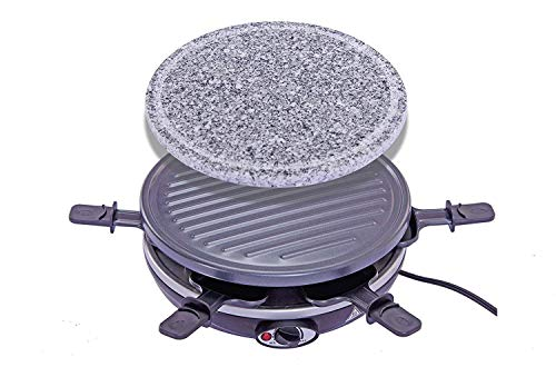 King of Raclette 2 IN 1 ROUND Party BBQ Grill with Temperature Control & Safety Indicator Electric Nonstick BBQ Indoor Grill / Outdoor Grills for up to 6 People