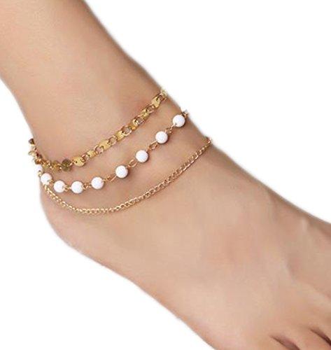 daliuing Elegante Cavigliera collana della gioielli piede estate spiaggia Sandalia caviglia decorazione del piede Accessori