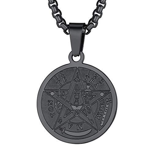 Colar de pentagrama U7, corrente de aço inoxidável, símbolo de amuleto de talismã antigo, joia com pingente de pentagrama mágico para homens e mulheres, gravável personalizada Preto