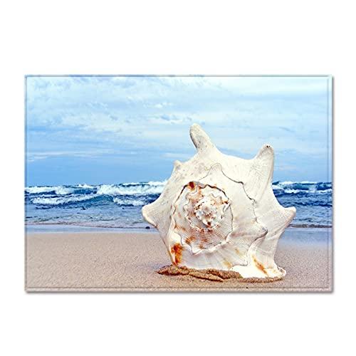 YDyun Interiores y Suaves Alfombras de Sala de Estar aptas para niños Alfombra Creativa de Paisaje Junto al mar.