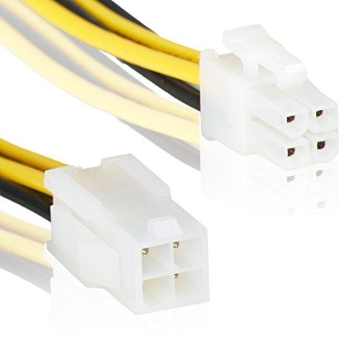 4Pin ATX Verlängerung | 20cm | Kupplung Adapter | 4 Pol Buchse auf 4 Pol Stecker | Strom-Kabel Stromversorgung Stecker CPU Mainboard Netzteil –MOVOJA