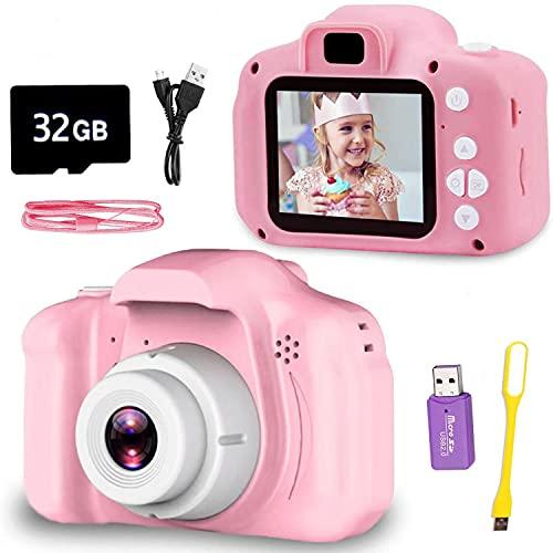 Fotos Digital para Niños, Cámara Fotos niños con Tarjeta de Memoria Micro SD 32GB, Camara Fotos Infantil para Niños Niñas Regalos de cumpleaños, 1080P, Rosa