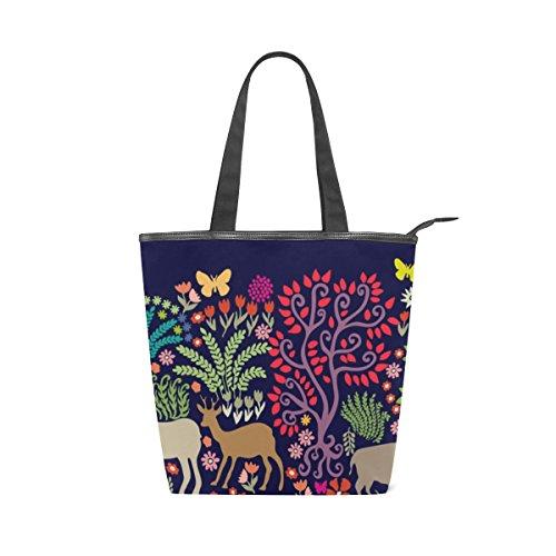 Bolsa feminina de lona durável Fantasy Forest Animals and Trees Deers, bolsa de ombro para compras com grande capacidade