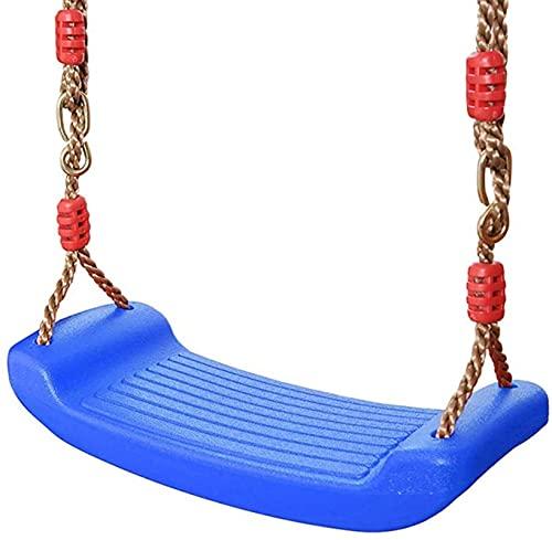 Columpio elástico de plástico, para jardín, antideslizante, para adolescentes, con cuerda de altura regulable, soporta hasta 100 kg aprox. (rojo), azul