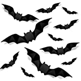 Halloween 3D Bats Decoration, 4 Sizes Realistic PVC Scary Bats Window Decal Wall Stickers for DIY Home Bathroom Indoor Decoration Party Supplies