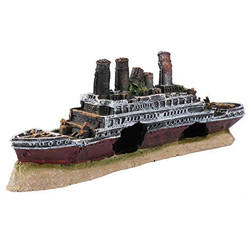 Zyyini Aquarium Dekoration, Harz Titanic Lost Wrecked Boat versunkene Schiff Dekorationen für Aquarium Dekoration Landschaftsbau
