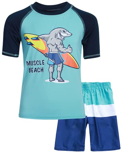 Sweet & Soft Boys UPF 50+ Boys Short Sleeve 2 Piece Rash Guard & Trunk Swimsuit Set (Infant/Toddler/Little Kid), Size 5, Blue Muscle Beach