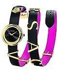 Versace Damenuhr VEBN00218 V-Flare Leder schwarz