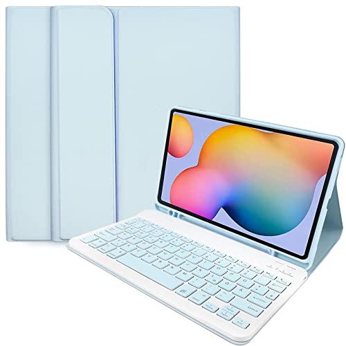 Galaxy Tab S6 Lite TastaturhüLle, Zabatoco Leder Folio Cover Mit Abnehmbarer Magnetischer Deutsche Layout(QWERTZ) Bluetooth Tastatur FüR Samsung Tab S6 Lite 10,4 Zoll (Sm-P610 / P615,2020), Blau