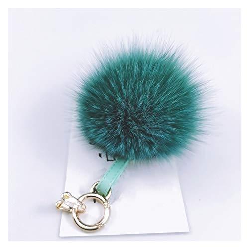 FOLA Llavero de peluche con diseño de bola de piel con hebilla de herradura para mujer (color verde)