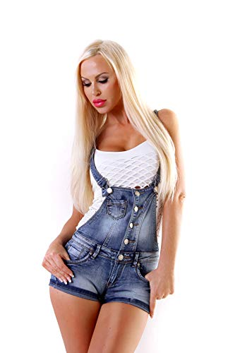 Fashion4Young 4461 Damen Latzhose Hotpants Short Kurze mit Hosenträgern Hot Pants latzjeans 5 Größen (S=36, Blau)