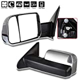AUTOMUTO Towing Mirrors Left and Right Side Tow Mirrors Power Adjusted Heated Turn Signal Light Chrome Housing Fit Compatible with 2002-2008 Dodge Ram 1500 Truck 2003-2009 Dodge Ram 2500 3500 Truck