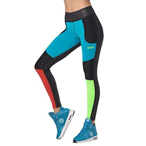 Zumba Fitness Breiter Bund Fitnesshose Workout Print Kompression Sporthose Damen, Bold Black 3, M