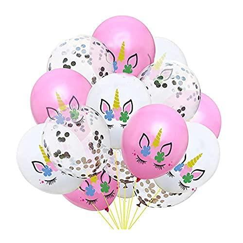 Globos de Unicornio, Globos de Fiesta, Globos de Látex, Globos Confeti Plateados, Para Niños Niñas Celebración de Party Decoraciones Cumpleaños Boda Bebé Bautizo Día de San