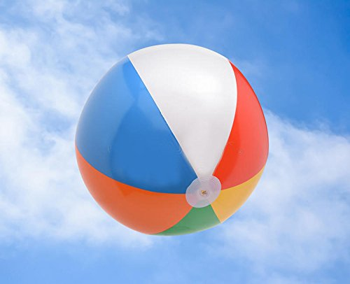 4E's Novelty Beach Balls for Kids Bulk [12 Pack] Large 20 inch Inflatable Beach Ball, Rainbow Color - Pool Toys for Kids, Beach Toys, Summer Toys, Summer Birthday Party Favors