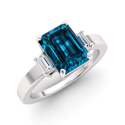 Diamondere Natural and Certified London Blue Topaz and White Topaz Engagement Ring in 18K White Gold | 2.90 Carat Three Stone Ring for Women, US Size 6.75