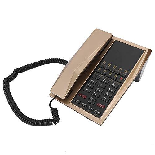 Wired Corded Teléfono Teléfono Oficina Hogar Trabajo Fijo Línea Fija Teléfono Multi Función Plastic Teléfono Soporte automático RE U2011Dial (Negro) (Color : Golden)