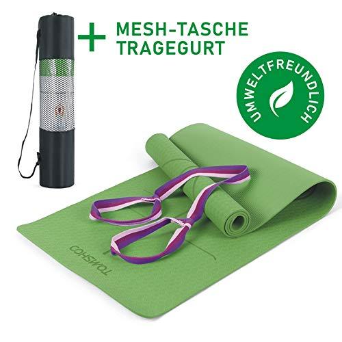 TOMSHOO Esterilla de Yoga Antideslizante,Esterilla de Gimnasia con Material Ecológico TPE y Línea Auxiliar, Bolsa,Bandolera183cm x 61cm x 0.6cm (Verde)