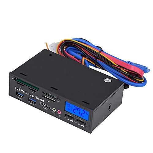 Yunir Dashboard multimediale da 5,25 Pollici, Pannello Frontale cruscotto multimediale Multifunzione, 2 hub USB 3.0 Supporta Lettore di schede M2 /TF/SD/MMC/MS/CF con Display LCD