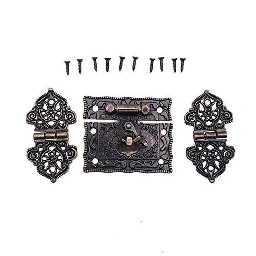2 bisagras para maleta + 1caja de madera debronce antiguo,pestillo de palanca, cierre de pestillo, herrajesantiguos, accesorios para muebles, 1 pestillo 2 bisagras