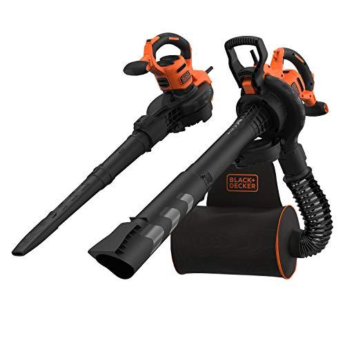 Black+Decker BEBLV300-QS - Aspirador, soplador, triturador de hojas con cable, 3000 W, volumen de aspiración: 15 m3/min, capacidad: 72 L-2, manguera flexible y mochila 72 L