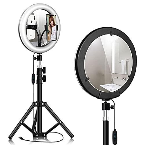 Ring Light Espejo, 26cm Ajuste Flexible 360° Enchufe USB 3 Modos de Luz 10 Niveles de Brillo con 1.2m Trípode Clip de Teléfono para Fotografía Selfie Maquillaje Youtube Vídeo