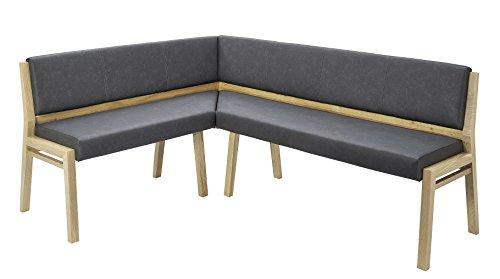Naturnah Möbel Eckbank Soul. Elegante Eckbank aus Leder und Massivholz, Wildeiche der neuesten Generation. Umweltschonende Produktion. (170 x 200 cm, Dunkelbraun)