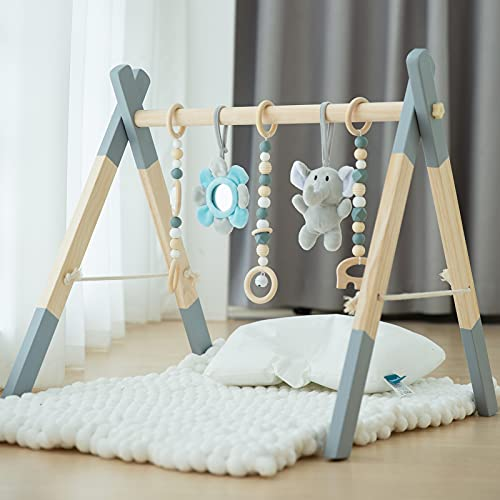 Wooden Baby Play Gym, Avrsol Foldable Baby Play Gym Frame Activity Gym Hanging Bar with 5 Gym Baby Toys Grey Gift for Newborn Baby