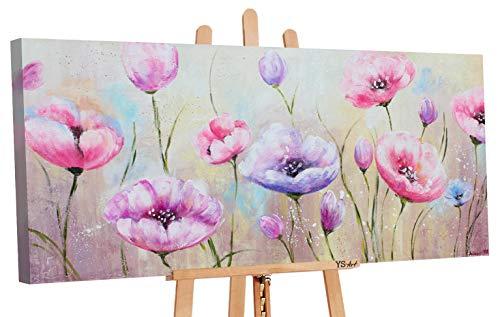 YS-Art | Dipinti a Mano Colori acrilici Aiuola | Quadro Dipinto a Mano | 115x50cm | Pittura | Dipinti Modern | Quadri Dipinti a Mano | Rosa