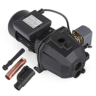 Happybuy Shallow Well Jet Pump with Pressure Switch 1HP Jet Water Pump 183.7 ft Cast Iron Jet Pump with Jet Ejector Assembly to Supply Fresh ell Water to Residential Homes Farms Cabins