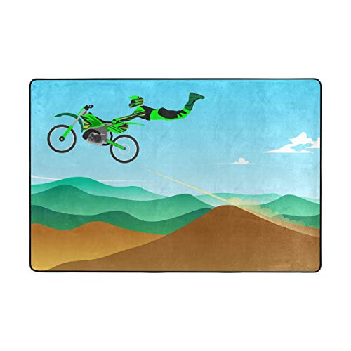 LUPINZ Sprung-Motocross-Teppich, rechteckig, Einstieg, Fußmatte, Anti-Curling hält Ihren Teppich an Ort und Stelle, Macht Ecken flach, ideal rutschfeste Teppiche, Polyester, 1, 72 x 48 inch