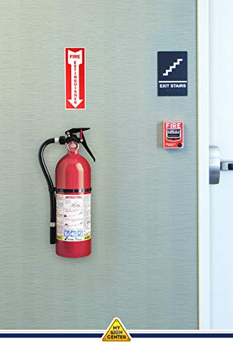 (6 Pack) Fire Extinguisher Signs, Self Adhesive Vinyl Decals, Arrow Pointing Down, Indoor and Outdoor Use, 4