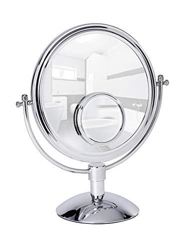 WENKO 22016100 Kosmetikspiegel Grando, Standspiegel, Stahl, 33 x 37 x 17 cm, Chrom