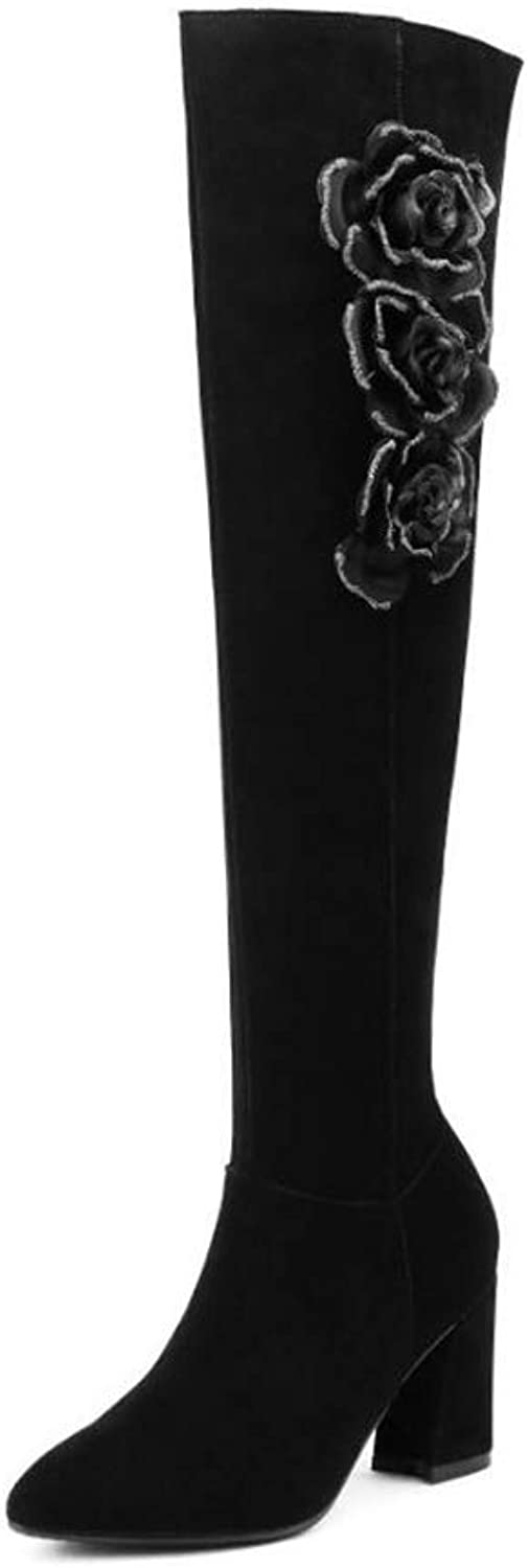 Women High Heel Boots, Round Toe, Over Knee Boots, Thick Heels Women Winter shoes Fashion Ornate Ladies Footwear (color   B, Size   39)