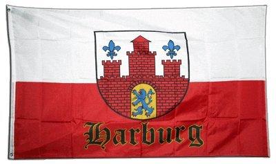 Fahne / Flagge Deutschland Stadt Hamburg Harburg + gratis Sticker, Flaggenfritze®
