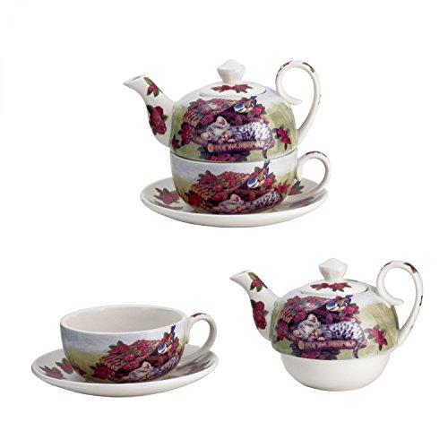 Jameson & Tailor 4tlg. Set Tea for one - Design: Katze am Vogelhaus - Teekanne mit Deckel, Tasse und Untertasse aus Leichtkeramik 5169