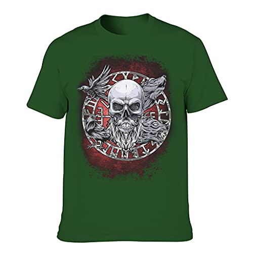 XunYun Viking Skull Novedad Casual Jersey Script Camiseta para hombres o mujeres