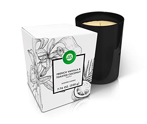 Air Wick Scented Candle, French Vanilla & Toasted Coconut Fragrance, Garden Scents Premium Range