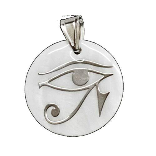perlascarel Colgante Ojo de Horus 25 mm Nácar Disco y Plata de Ley con Estuche