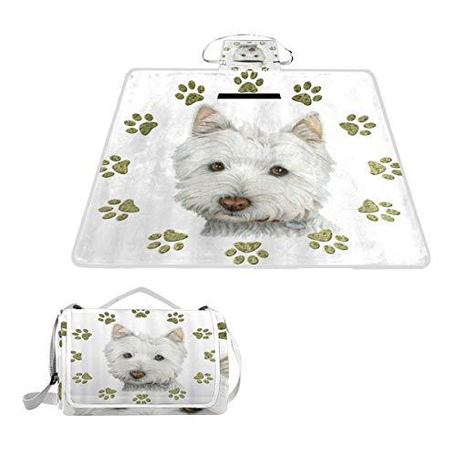 XINGAKA Picknickdecke,Weißer Hund und Pfote drucken Design,Outdoor Stranddecke wasserdichte sanddichte tolle Picknick Matte