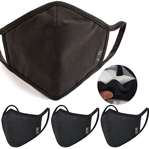 4-Pack Unisex Washable Reusable fashion Cover shield White lining- Triple Layer Cover for Dust Particle & Droplet Protection - Dust Warm outdoor Cover Black - Ship From USA