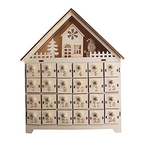 LIHENG Calendario de Adviento de madera con diseño de muñeco de nieve de Navidad, 24 cajones con luz LED (2)
