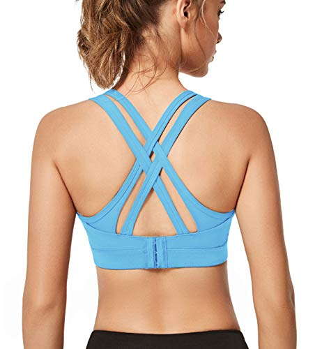 Yvette Women High Impact Sports Bras Criss Cross Back Sexy Running Bra for Plus Size, Blue, 2XL(AC)