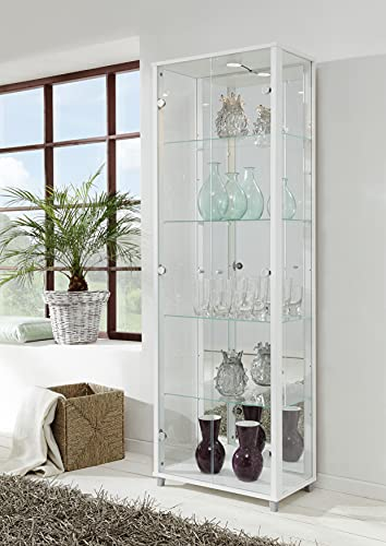Universe LED 2 Door Glass Display Cabinet- In Black, Silver, White & Beech (White)
