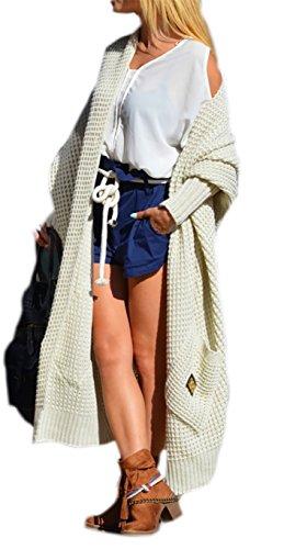 Damen Strickjacke Pullover Cardigan Langarm Oversize NEU 36 38 40 S M L (658) (Beige)