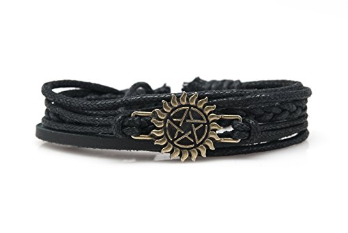Orti jewelry Supernatural Rope and Leather Adjustable Unisex Charm Armband